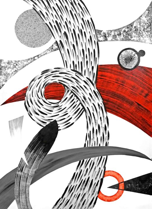 Composition No. 213 - Painting,  51x33 in, ©2020 by Sumit Mehndiratta -                                                                                                                                                                                                                                                                                                                                                                                                                                                                                                                                                                                                                                                                                                                                                                                                                      Abstract, abstract-570, Abstract Art, Black and White, Colors, Patterns, red, black, white, grey, movement, knot, abstract patterns, black and white, white and red, red and black, black and grey