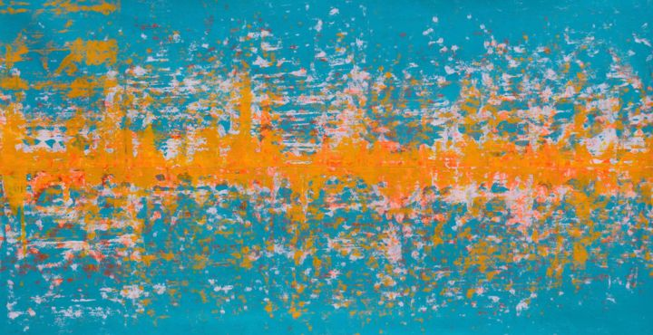 Maglev - Painting,  30x58x0.1 in, ©2016 by Sumit Mehndiratta -                                                                                                                                                                                                                                                                                                                                                                                                                                                                                                                                                                                                                                      Abstract, abstract-570, Abstract Art, Colors, sound waves, ripples, fluid, liquid, liquidity, fluidity, turquoise, florescent, florescence