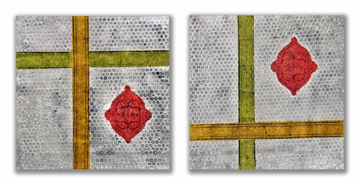 Varnan Vrisht - Painting,  15x30 in, ©2015 by Sumit Mehndiratta -                                                                                                                                                                                                                                                                                                                                                                                                                                                                                                                                                                                                                                                                                                                              Abstract, abstract-570, Abstract Art, Colors, Culture, Geometric, wooden block printing, block printing, screen printing, indian wooden block printing, abstract, abstraction, ornamental, embellishment, diptych