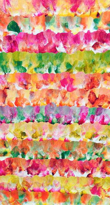 Field of flowers - Painting,  36x18 in ©2014 by Sumit Mehndiratta -                                                                                                                    Abstract Art, Abstract Expressionism, Contemporary painting, Modernism, Abstract Art, Colors, Flower, Nature, flowers, field of flowers, flowering, blossoming flowers, colorful, colorful flowers