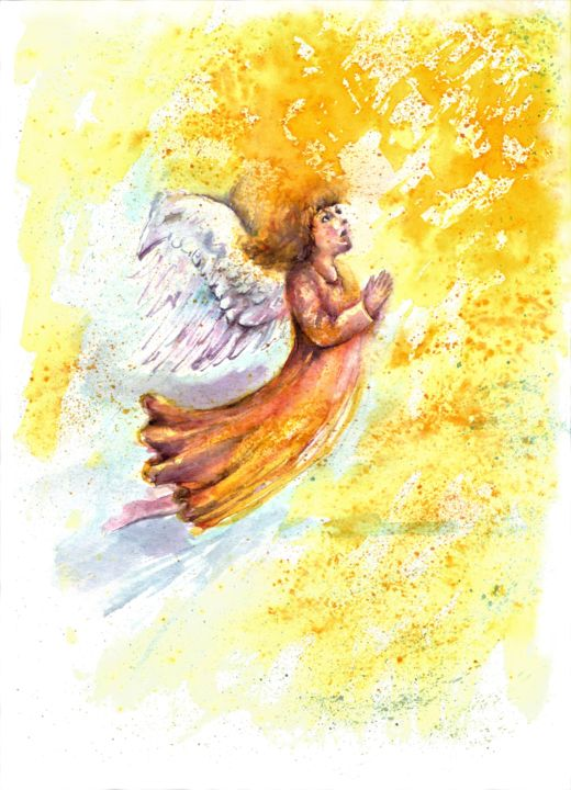 Paintings Folk Art & Indigenous Art Original Painting Drawing Watercolor Art Picture Signed Aceo Little Girl Angel