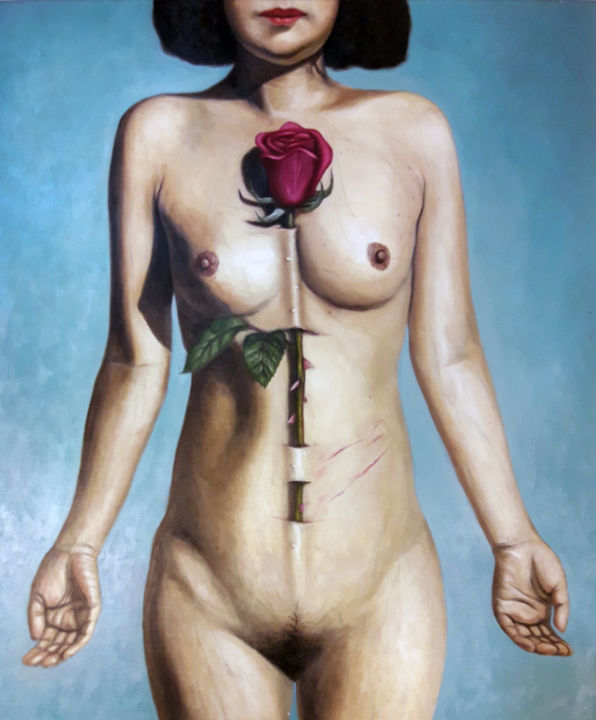 """Painting titled """"Rose Love Trilogy 1"""" by Sungyoung Lee, Original Art, Oil"""