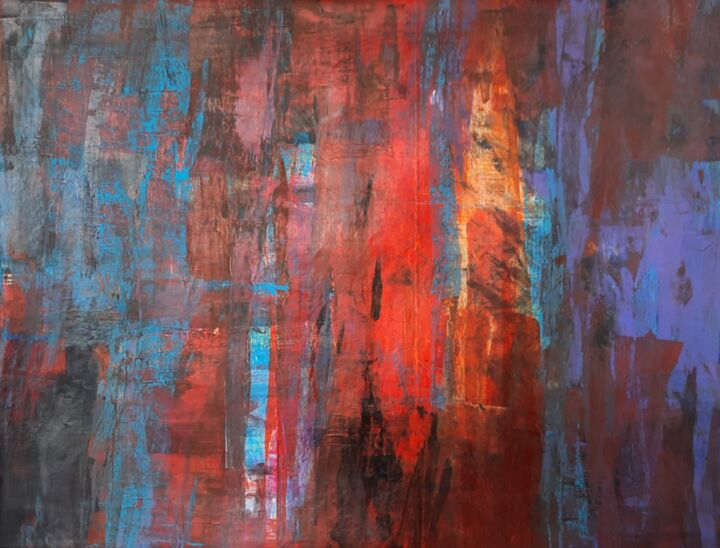 """Painting titled """"Abstract color pain…"""" by Sunil Karunarathna, Original Art, Acrylic"""