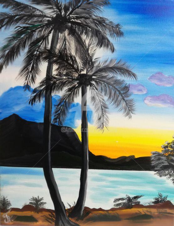 Palms on the beach - Painting,  17.71x13.78x0.76 in ©2017 by Nataliia Plakhotnyk -                                                                                                Contemporary painting, Impressionism, Canvas, Beach, Landscape, Seascape, oil painting, gift idea, Oil Art, art for walls, gift for her, seascape painting, palms on the beach, beach painting, sea and sky, ocean painting, ocean beach, art for home, decor for room, decor for home, wall art, wall decor, bedroom painting, bedroom art, small oil painting, original gift, original art, original decor, art for house, gift under 300, contemporary art, still life painting