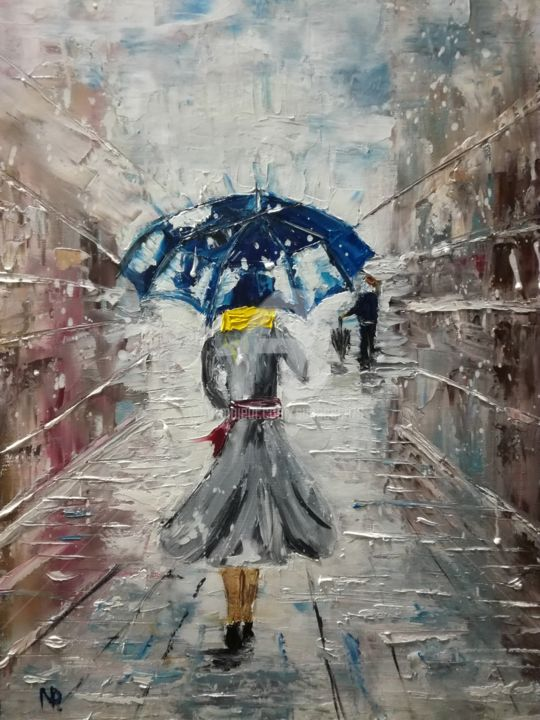 Under the snow, Winter, Girl, Urban Oil Art - Painting,  17.71x13.78x0.7 in ©2017 by Nataliia Plakhotnyk -                                                                                                                                                                                                Abstract Expressionism, Contemporary painting, Expressionism, Impressionism, Canvas, Architecture, Cities, Cityscape, Light, Love / Romance, Men, People, Seasons, Still life, Painting, Oil, Figurative Art, impressionism, canvas, seasons, cities, winter, snow, umbrella, girl, girl with umbrella, nature, people, art for home, gift idea, modern art, original work, original art, bedroom painting, bedroom art, decor for rooms, decor for home, gift for her, gift for girl