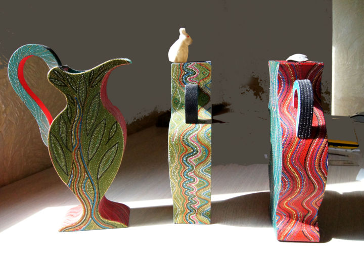 """Sculpture titled """"Vases in Her Home,…"""" by Lina Stern, Original Art, Wood"""