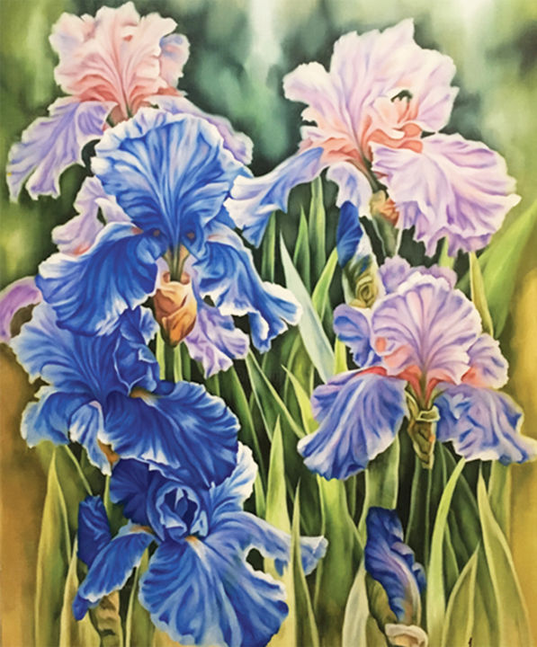 """Painting titled """"Afternoon in Iris G…"""" by Super Tangerine, Original Art, Oil"""