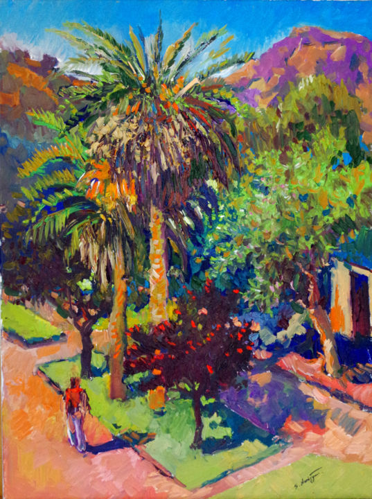 Street with Palm Tree, Los Angeles - © 2017 california, californian landscape, landscape art, landscape painting, palm tree, palm trees Online Artworks