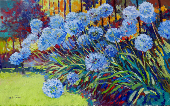 African Lilies In The Garden Agapanthus Flowers 2018 Painting 30x48x1 5