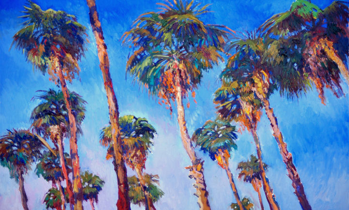 Palm Tress on the Road - Painting,  30x48x1.5 in ©2018 by Suren Nersisyan -                                                                                                                    Expressionism, Fauvism, Impressionism, Modernism, Beach, Landscape, Nature, Tree, palm, palm trees, beach, californian landscape, california beach, impressionism, impressionist, desert palms, palm tree art, palm tree painting