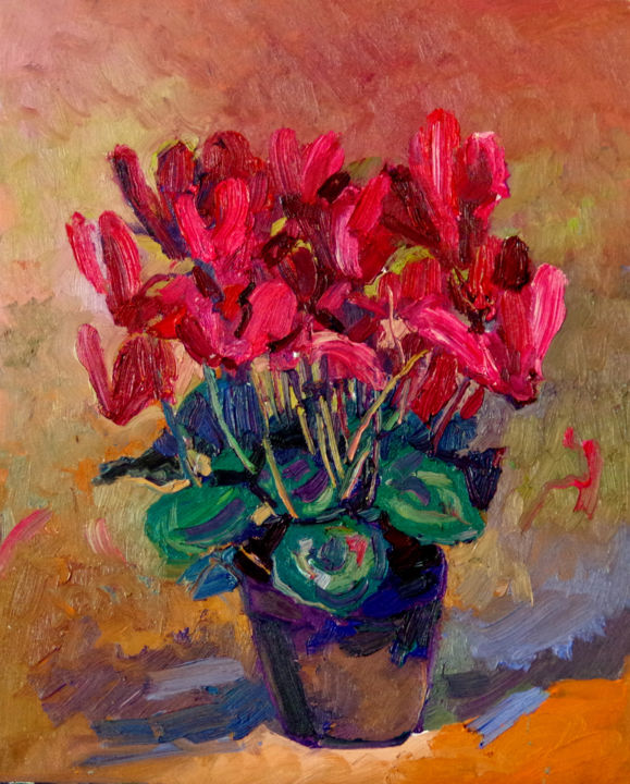 Red Cyclamen Flowers - © 2018 red flowers, impressionism, impressionist, impressionist art, cyclamen flowers, red cyclamen, garden flowers Online Artworks