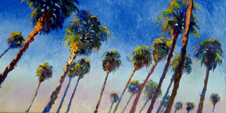 Palms on the Beach, Calfiornia - Painting,  24x48x1.5 in ©2018 by Suren Nersisyan -                                                                                            Expressionism, Fauvism, Impressionism, Modernism, Beach, Tree, palm, palm tree, palm trees, beach, california, california palms, beach palms, beach house, blue painting, blue art, large oil