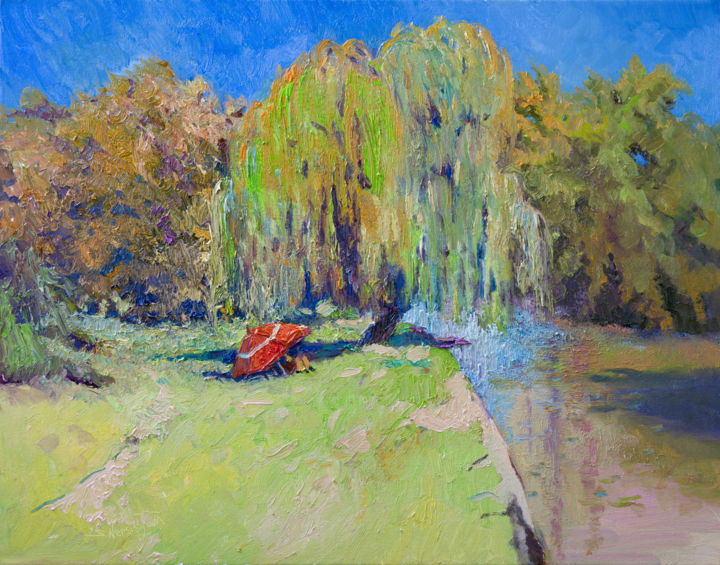 """Painting titled """"Landscape with Will…"""" by Suren Nersisyan, Original Art, Oil"""