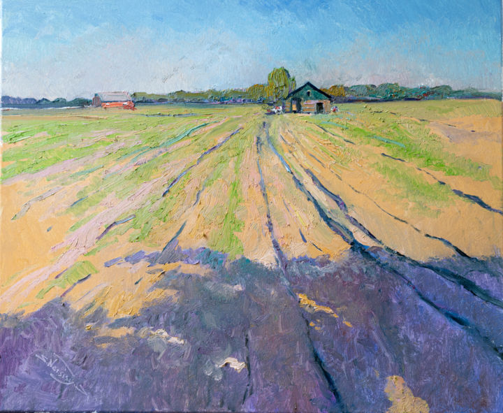 """Painting titled """"Farmland, Early Eve…"""" by Suren Nersisyan, Original Art, Oil"""