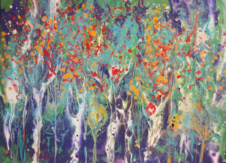 """Paints of forest"" Abstract art - © 2017 abstract, art, canvas, acrylic, forest, tree, landscape, abstract landscape, fluidart, fluid art, multicolor, colorful, garden, spring, summer, modern, expression, expressionism, impressionism, abstractionism Online Artworks"
