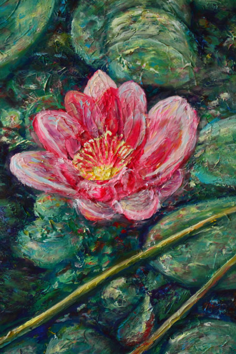 Lotus. Acrylic painting. Only digital version - Digital Arts,  50x40x2 cm ©2010 by Suriko -                                                                                            Abstract Art, Impressionism, Abstract Art, Flower, Landscape, Nature, acrylic, aquatic, background, beautiful, beauty, bloom, blooming, blossoms, botanical, botany, calmness, evening, flora, floral, flower, green, image, lake, lily, lotus, morning, natural, nature, nelumbo, oil, pad, painting, petal, pink, plant, pond, serene, serenity, surface, tranquil, tranquility, water, spiritual, conciseness