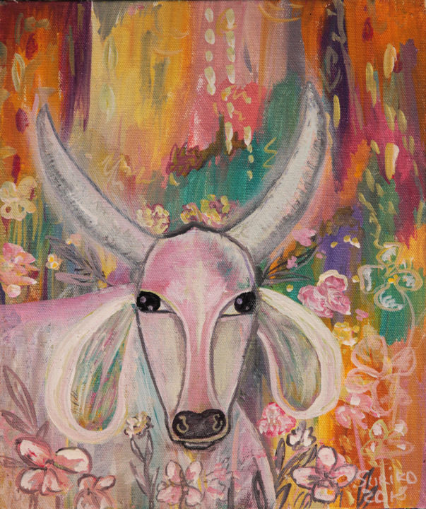 Spring cow. Acrylic painting - Painting,  11.8x9.8x0.2 in ©2018 by Suriko -                                                                    Impressionism, Naive Art, Contemporary painting, Animals, cow, animal, bull, children, native art, acrylic, painting, modern art, illustration, spring