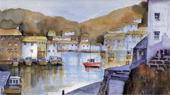 THE RED BOAT, POLPERRO - Painting,  18x26 in, ©2008 by Susan Shaw -