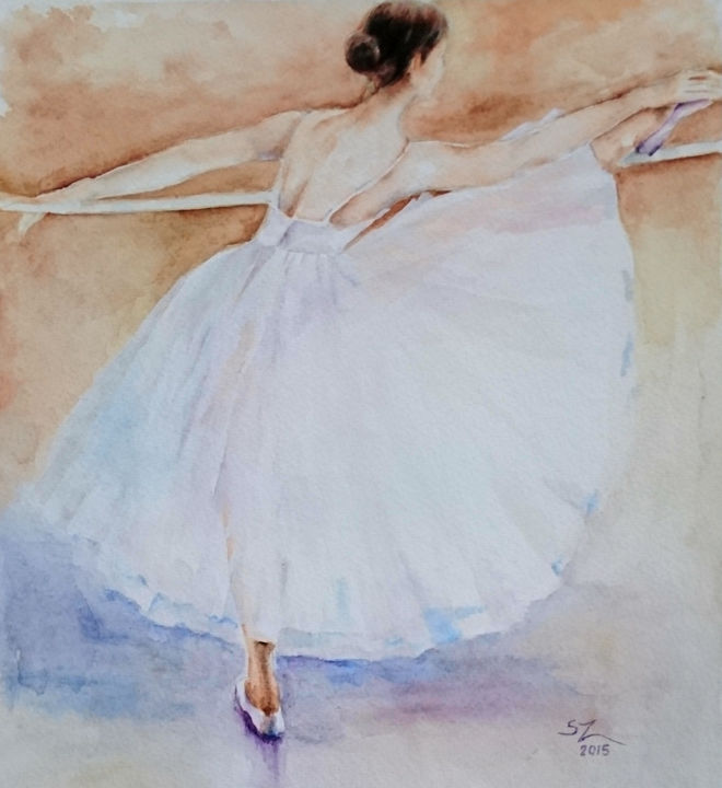 """Painting titled """"Ballet dancer in a…"""" by Susana Zarate, Original Art, Watercolor"""
