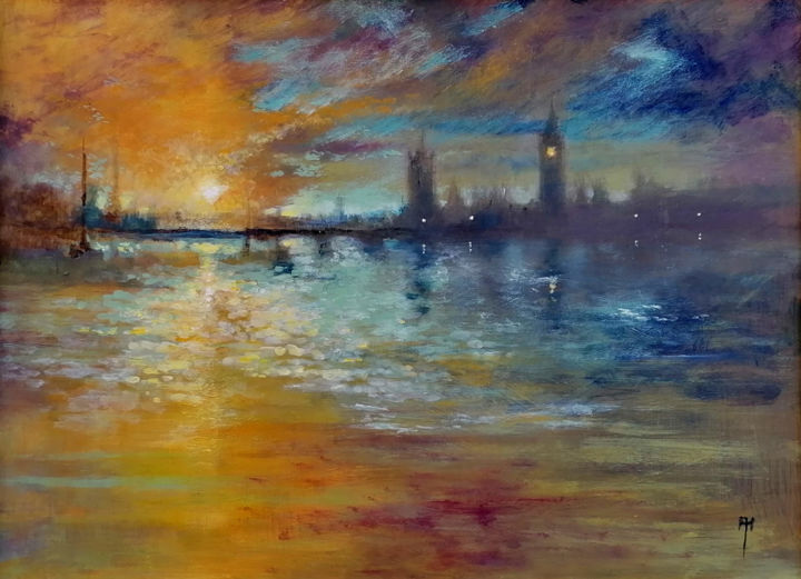 """Painting titled """"Impressions of Lond…"""" by Alan Harris, Original Art, Acrylic"""