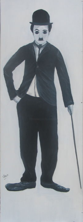 108 CHARLY CHAPLIN - Painting,  61.8x22.1x0.4 in, ©2017 by Suzanne Leseve -