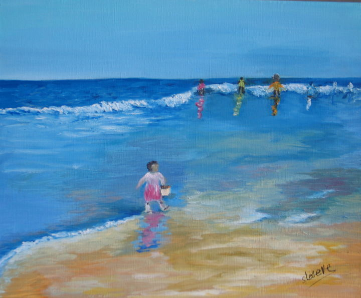 85 SUR LA PLAGE - Painting,  15x18.1 in, ©2017 by Suzanne Leseve -