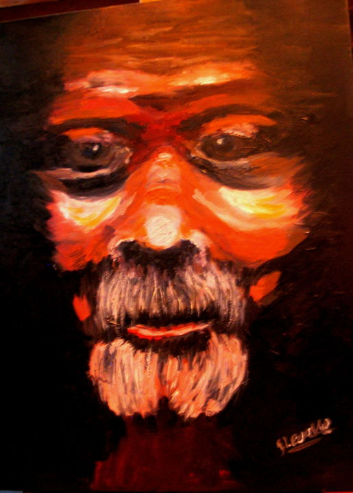 117-homme-obscure-1.jpg - Painting,  18.1x15x0.4 in, ©2019 by Suzanne Leseve -