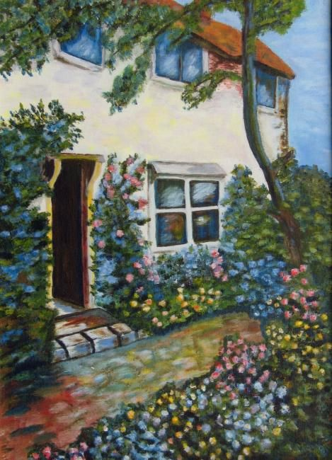 Maison Fleurie Painting By Suzanne Leseve Artmajeur