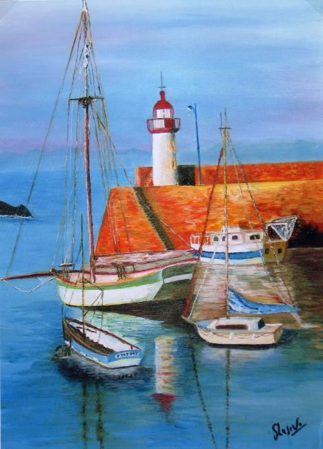 PORT BRETON - Painting,  21.7x15 in, ©2009 by Suzanne Leseve -                                                              PORT BETON
