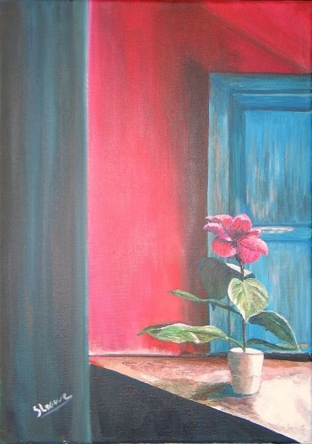 fleur solitaire - Painting,  18.1x13 in, ©2010 by Suzanne Leseve -                                                              fleur solitaire