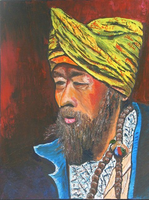 lhomme au turban - Painting,  25.6x19.7 in, ©2011 by Suzanne Leseve -                                                              l homme au turban