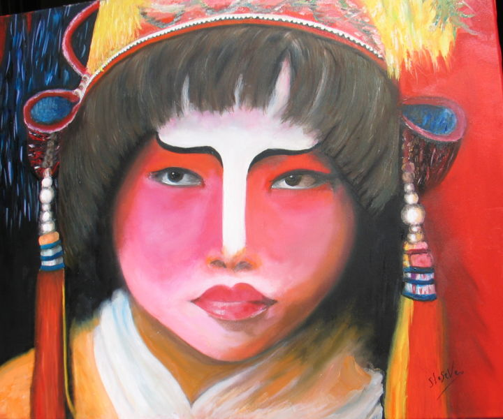 100-actrice-chinoise-singapour.jpg - Painting,  21.3x25.6 in, ©2016 by Suzanne Leseve -