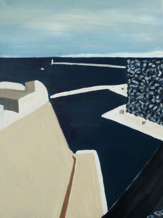 MUCEM Marseille - Painting,  31.5x23.6x0.4 in, ©2014 by Suzanne Piesk -                                                                                                                                                                                                                                                                                                                                                                                                                                                                                                                                              Expressionism, expressionism-591, Architecture, Seascape, Places, Cityscape, Cities, Marseille, MUCEM, Südfrankreich, Meer