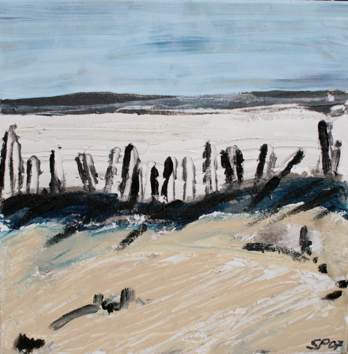 Camargue - Painting,  15.8x15.8x0.4 in, ©2007 by Suzanne Piesk -                                                                                                                                                                                                                                                                                                                                                                                                                                                                                                  Expressionism, expressionism-591, Landscape, Seascape, Places, Camargue, provence, plage, strand, südfrankreich