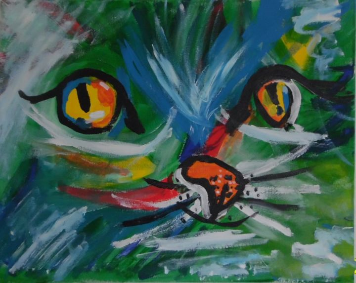 Katzen Gesicht Bunt - Painting,  15.8x19.7x0.8 in, ©2019 by Suzanne von Schledorn -                                                                                                                                                              Cotton, Cats, PopArt