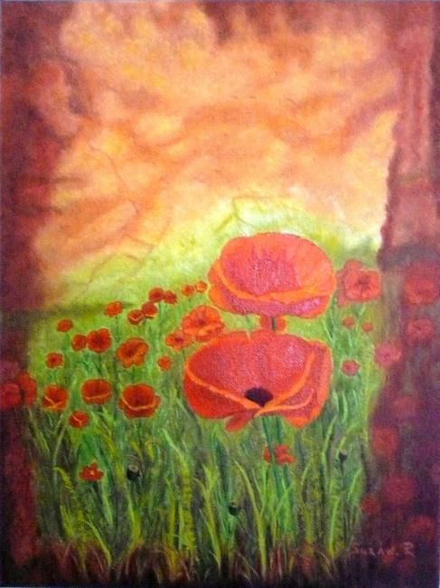 Coquelicots - Painting,  16x12 in, ©2012 by Suzanne Plante -                                                              Coquelicots