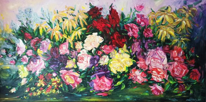 """Painting titled """"70.8 * 35.4 Big Оil…"""" by Svetlana Sindere, Original Art, Oil Mounted on Stretcher frame"""