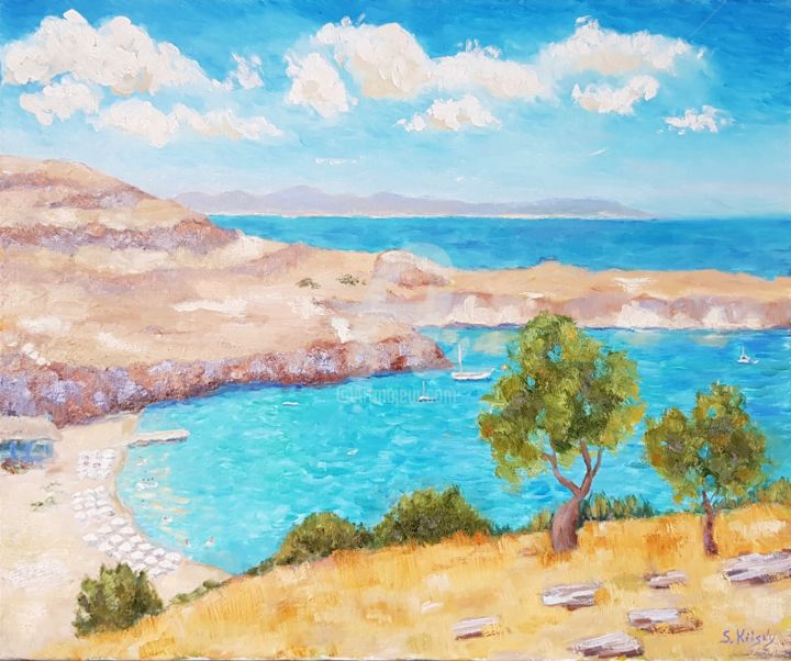 """Painting titled """"Rhodes. View to the…"""" by Svetlana Grishkovec-Kiisky, Original Art, Oil Mounted on Stretcher frame"""