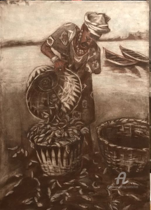 Mosadi with baskets - Painting,  70x70x0.1 cm ©2018 by Svet Schiel Gallery -                                                                                                                                Figurative Art, Impressionism, Paper arts, Realism, Women, Boat, People, Seascape, Landscape, Graphics., sanguine, sepia, Fisherwoman, African, South Afric, Catch