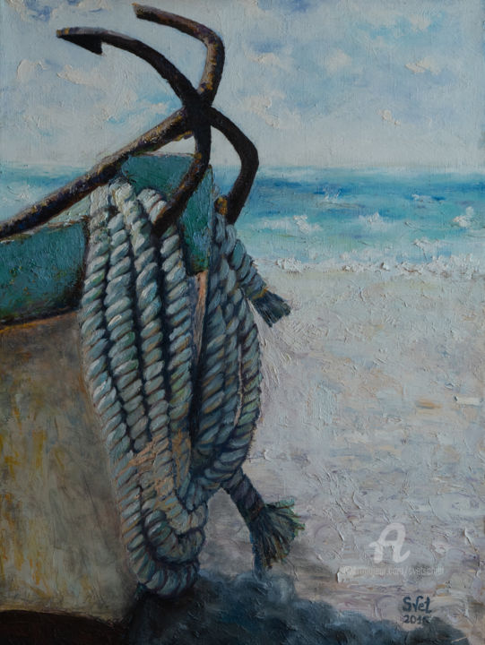 Boat on the shore - Painting,  31.5x23.6x1.6 in, ©2016 by Svet Schiel Gallery -                                                                                                                                                                                                                                                                                                                                                                                                                                                                                                                                                                                                                                                                                                                                                                                                                                                                                                                                                                                                                                                                                                                                                                                                                                                                              Figurative, figurative-594, Water, Ships, Boat, Seascape, Sailboat, rope, coast, oil painting, a boat, seascape, stop, sand, fishing, good gift, large size, finished painting on the wall, original work done by hand, play of color, wonderful gift for a sailor, fisherman, romantic vacation, bright sunny work, boat on the ocean, boat in the sand, seascape with boat
