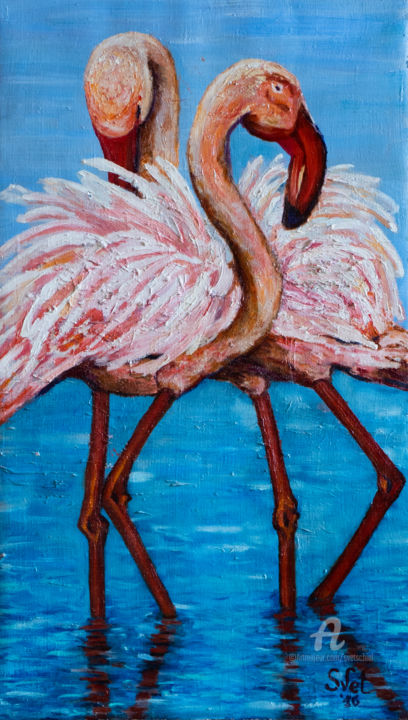 Pink flamingo - Peinture,  23,6x15,8x1,6 in, ©2016 par Svet Schiel Gallery -                                                                                                                                                                                                                                                                                                                                                                                                                                                                                                                                                                                                                                                                                                                              Impressionism, impressionism-603, Animaux, Amour / Romance, Oiseaux, Couleurs, fidelity, two, love, on the water, couple, birds, pink, pink flamingo, Tenderness