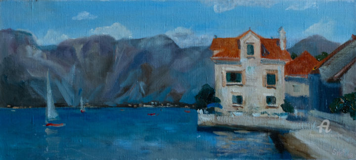 Kotor Bay - Painting,  7.9x19.7x1.6 in, ©2018 by Svet Schiel Gallery -                                                                                                                                                                                                                                                                                                                                                                                                                                                                                                                                                                                                                                                                                                                                                                                                                                                                  Impressionism, impressionism-603, Architecture, Water, Mountainscape, Home, Sailboat, sea, boats, sailboat, mountains, sky, blue water, Kotor, montenegro, seascape, reflection in water, Ukrainian artist