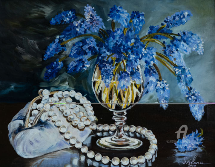 Pearl necklace. - Painting,  20.5x25.6x1.6 in, ©2009 by Svet Schiel Gallery -                                                                                                                                                                                                                                                                                                                                                                                                                                                                                                                                                                                                                                                                                                                                                                                                                                                                                                              Impressionism, impressionism-603, Women, Fashion, Pop Culture / celebrity, Travel, Performing Arts, birthday, Handbag, Pearl necklace, Bouquets of flowers, Tenderness, Love, Female condition, Purple Flowers, oil painting, flowers, joy, optimistic work