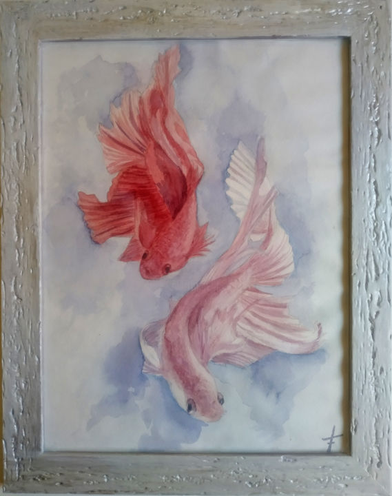 Fish Watercolor Painting, Aquarium Exotic Betta Fish - Dessin,  20x16x0,6 in, ©2018 par Svitlana Kalaidzhi -                                                                                                                                                                                                                                                                                                                                                                                                          Illustration, illustration-600, Poisson, watercolor painting, fish art, fish wall art, fish home decor, original watercolor