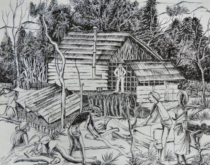 """Painting titled """"End and the Beginni…"""" by Swendrini Gunasekara, Original Art, Ink Mounted on Other rigid panel"""