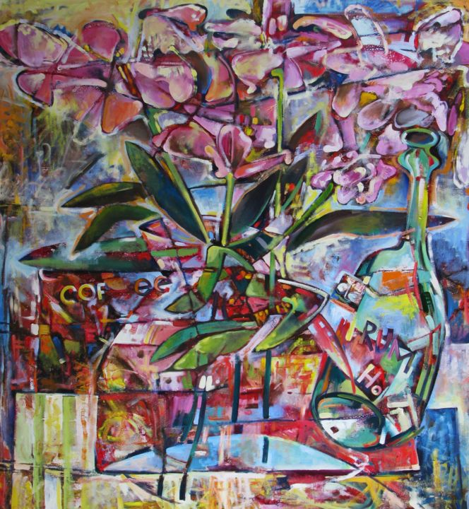 """Painting titled """"Orchids"""" by Nicifor Swiristuhin, Original Art, Oil"""