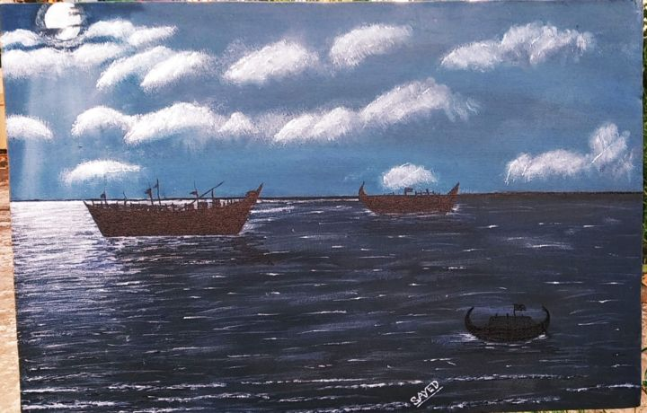 """Painting titled """"Ocean in moon night"""" by Syed Ahmed, Original Art, Acrylic"""