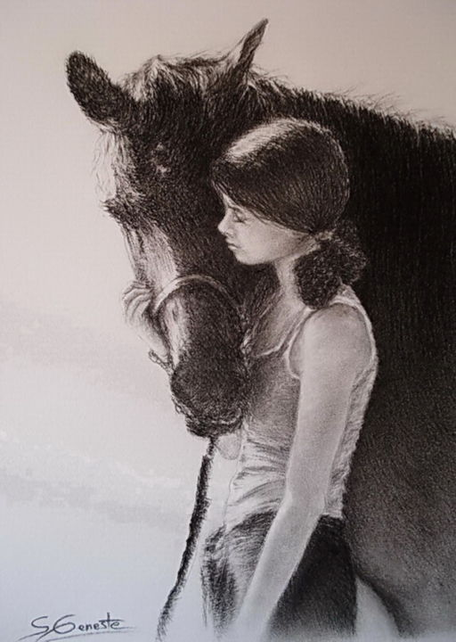 """Drawing titled """"Confidences"""" by Sylvie Geneste, Original Art, Charcoal"""