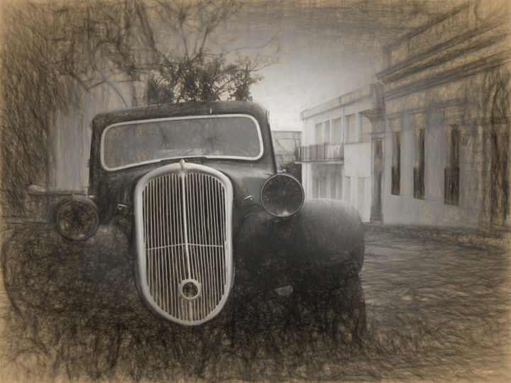 Traction - Digital Arts ©2015 by Sylvain Manguer -                                            Art Deco, Transportation, trraction, automobile, colonia, uruguay, historique