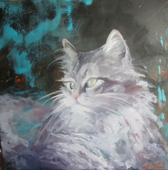 chat.jpg - Painting,  15.8x15.8x0.8 in, ©2017 by Sylvia Fuet -                                                                                                                                                                          Figurative, figurative-594, Animals